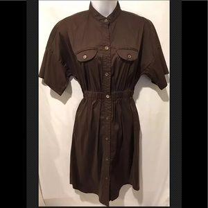 TRINA TURK Ruched Mini Shirt Dress Brown Mandarin